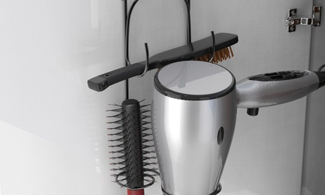 Hair Dryer Holder Over-the-Cabinet Hanging Caddy Bathroom Styling Rack