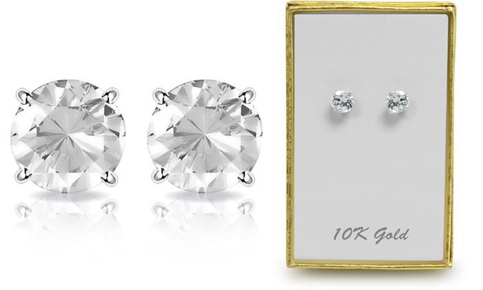 2 00 Ctw Genuine White Topaz Stud Earrings In Solid 10k Gold By Muiblu Gems