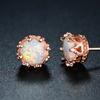 Fire Opal Crown Stud Earrings in 18K Rose Gold Plating