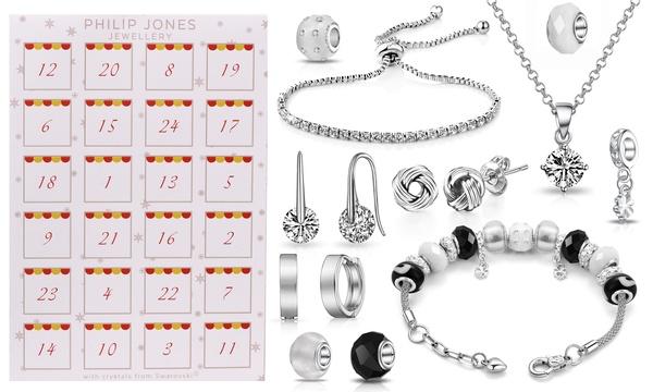 Calendrier de l'Avent composé de 24 bijoux et charms en plaqué argent et  plaqué or rose ornés de cristaux Swarovski®
