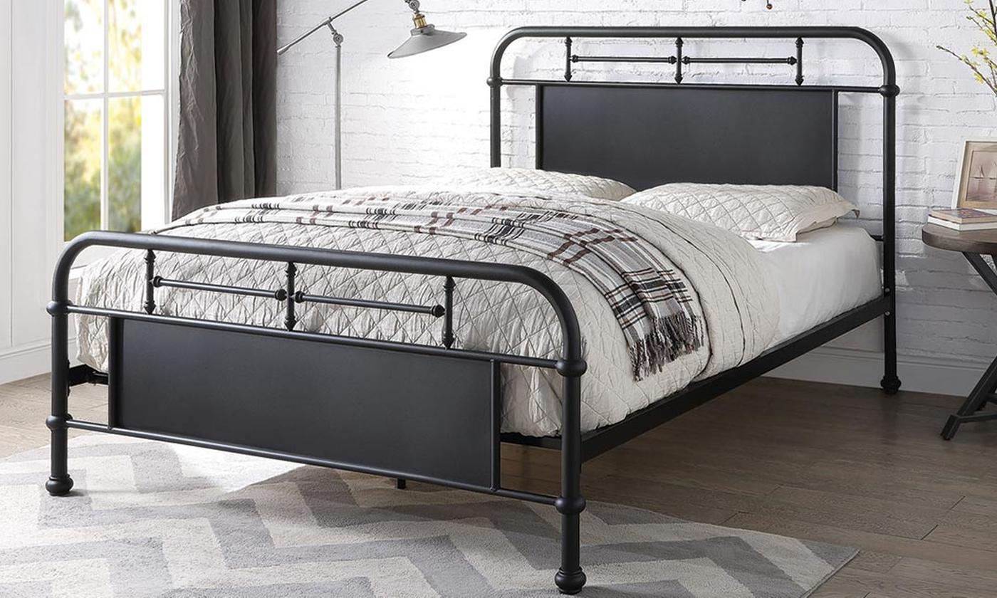 Keston Industrial-Style Bed Frame with Optional Mattress from £160 (64% OFF)