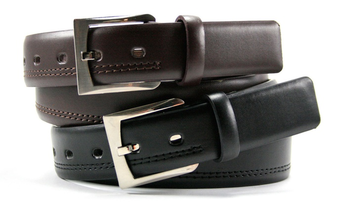 Beverly Hills Polo Club Men's Genuine Leather Casual Belt Set (2-Pack) (Size 40)