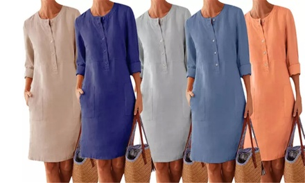 Cotton Linen Round Neck Dress: One ($19) or Two ($29)