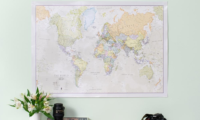 Classic World Map Groupon - Huge classic world map