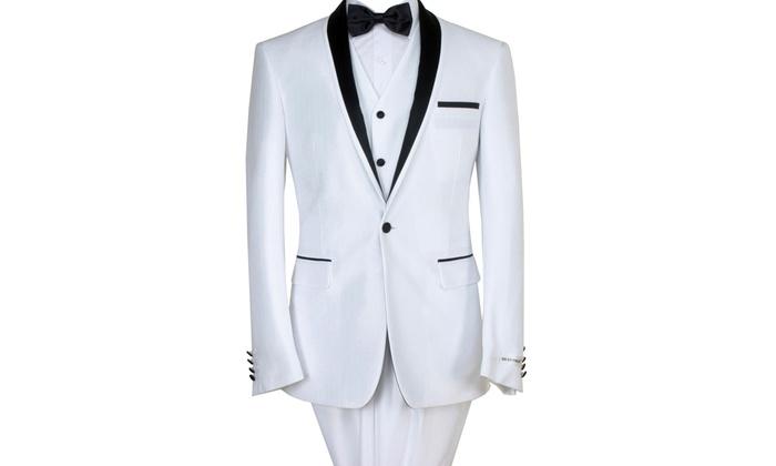 Braveman Men's Slim Fit White Tuxedo (3-Piece)