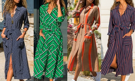 Printed Maxi Shirt Dress: One ($25) or Two ($45)