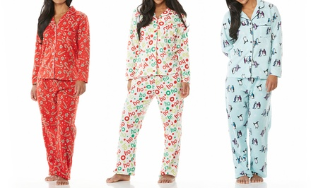 Women's Micro Polar Fleece Printed Tailored PJ Set