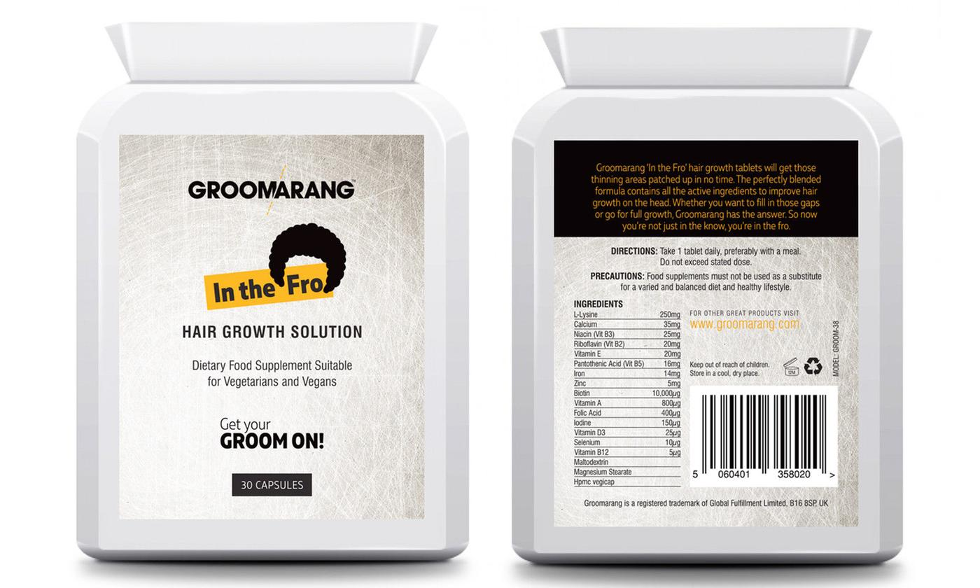 One, Two or Three Packs of Groomarang In the Fro Hair Growth Capsules