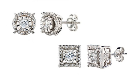 groupon daily deal - 1/4 CTTW Diamond Composite Stud Earrings in Princess or Round Shape. Free Returns.