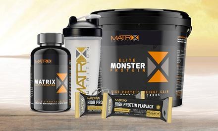 Matrix Elite 1 oder 2,25 kg Monster oder Whey Protein, 60 Creatin-Kapseln und Shaker, optional mit 2 Flapjacks