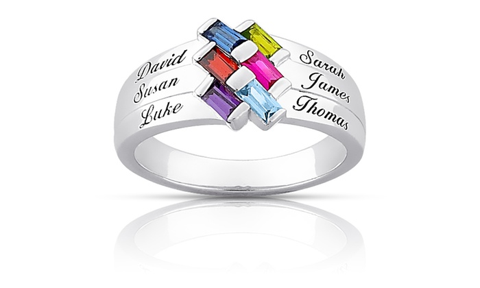 Limogès Jewelry: $34 for Sterling Silver Baguette Birthstone and Name Family Ring from Limogès Jewelry ($99.99 value)