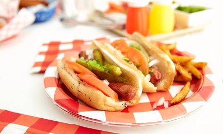 Two Hot Dogs with Chips and Soft Drink or Prosecco for One or Two at Doggy Dagul
