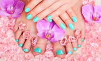 Traditional, Paraffin or Gelish Mani-Pedi with an Optional Full Face Threading at Prestige Beauty Center (Up to 71% Off)