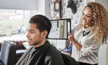 image for Men's Haircut with Optional Style and Partial <strong>Highlights</strong> or Full <strong>Color</strong> at Caruso Hair Club (Up to 50% Off)
