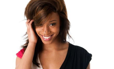 Haircut and Style Package with Full Color or Sew-In Weave at Faces Barber Shop and Beauty (Up to 56% Off)