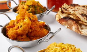 Samrat Indian Restaurant: Three-Course Indian Meal with Wine for Two ($39) or Six People ($109) at Samrat Indian Restaurant (Up to $261 Value)