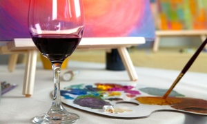 Winey Art: $22 for One Painting Class at a Local Bar ( $40 Value)