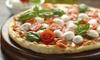 Pizza, antipasti, dolce e birra media