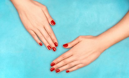 Shellac Manicure, Pedicure or Both with Optional Eyebrow Wax or Thread at Station Hairbeauty