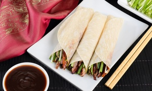 Four Seasons Asian Bistro: 6-Course Peking Duck Banquet with Wine for 2 ($49) or 4 People ($95) at Four Seasons Asian Bistro (Up to $191.60 Value)