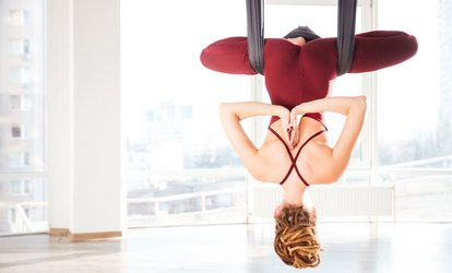 One, Four, or Ten Classes of Aerial or Hanuman <strong>Yoga</strong> at Akasa <strong>Yoga</strong> (Up to 73% Off)