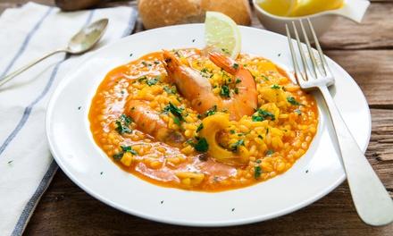 Menú para 2 o 4 con entrante, arroz caldoso, postre y botella de vino o bebida desde 34,99 € en La Tasqueta del Port