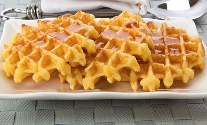 image for Waffle with Ice Cream and Hot Drink for Two or Four at Happy Daze (Up to 55% Off)