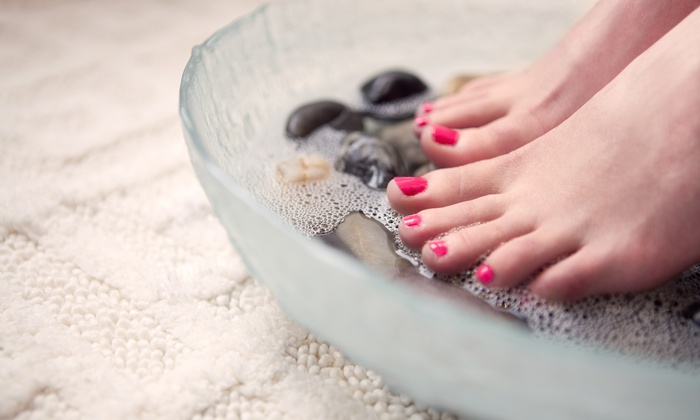 Spa mani pedi packages mandalyn academy groupon for Fish pedicure price