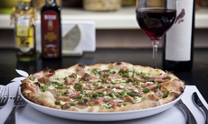 Family Bistro Italiano: Pizza and Bottle of Wine for 2 ($29) or 2 Pizzas and 2 Bottles of Wine for 4 People ($50) at FBI (Up to $126 Value)