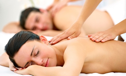 One 60- or 90-Minute Couples Therapeutic Massage with foot scrub at Amity Green Room (51% Off)