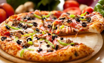 $28 for One Large Specialty Pizza and One Large Pizza with Topping at Mountain Mike's Pizza ($46.96 Value)