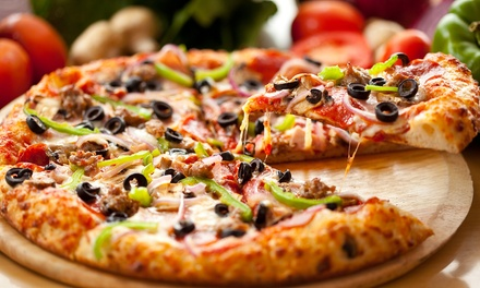 $17 for Two Medium Three-Topping Pizzas and One Large Caesar Salad for Carry-out (Up to $33.71 Value)