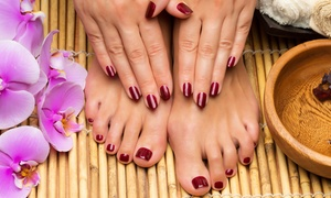 Bella V Nails and Spa: Deluxe Mani-Pedi with Dead Sea Products or Gel Polish Mani-Pedi at Bella V Nails and Spa (Up to 51% Off)