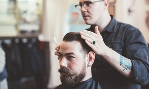 Tonsorial Parlor 406: Men's Haircut or Premium Haircut with Hot-Lather Shave and Mask at Tonsorial Parlor 406 (Up to 51% Off)