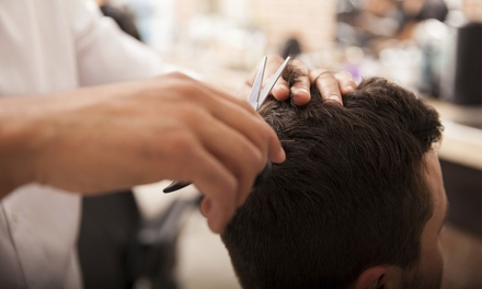 One or Three Men's Haircut Packages with Shampoo and Shoulder Massage at Status Barber Shop (55%  Off)