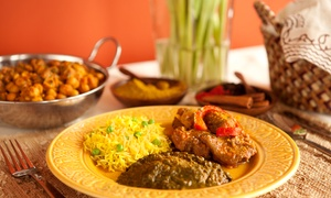 Dhaniya Drums Indian Food: $18 for Indian Dinner and Drinks for Two at Dhaniya Drums Indian Food ($30 value)
