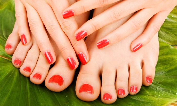 Sandy at Happy Hands & Hair - Sandy at Happy Hands & Hair: One Gel Manicure with Optional Pedicure or Two Gel Manicures (Up to 53% Off)