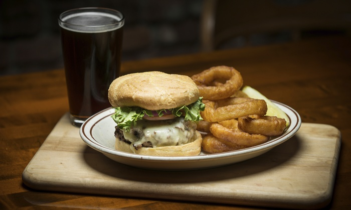Burger onion rings and drink tally ho hotel groupon for Food bar drinking game