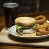 Burger, Onion Rings and Drink