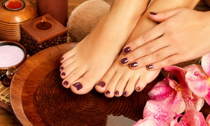 She Cut She Nail: Shellac Manicure with Optional Spa Pedicure at She Cut She Nail (Up to 51% Off)