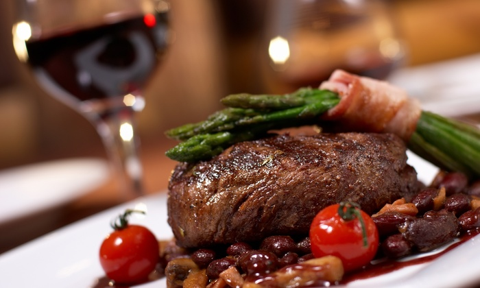 The Point Bar & Grill - Exmouth: 10oz Rump Steak Meal with Wine for Two at The Point Bar & Grill (52% Off)