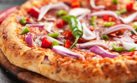 One or Two Medium Pizzas with Large Caesar Salad and VIP Card at Byron Pizza (Up to 43% Off)