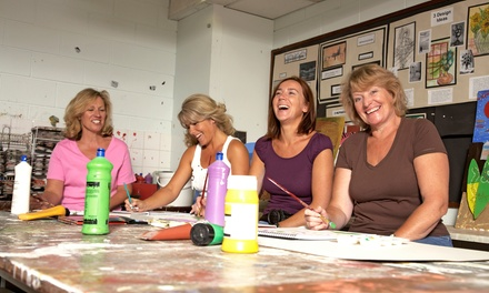 Adult Canvas-Painting Class for One or Two, or $10 for $20 Worth of Pottery Painting at Studio B