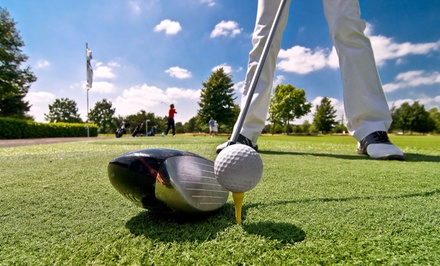 18 Holes of Golf with Range Balls, Pizza, and Beer for Two or Four at Sundance Golf Banquet Bowl (Up to 49% Off)