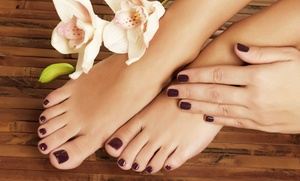 The Hair Lounge Salon and Nail Spa: One or Two Mani/Pedi Combos or One Shellac Manicure from The Hair Lounge Salon and Nail Spa (Up to 52% Off)