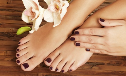 One or Two Mani/Pedi Combos or One Shellac Manicure from The Hair Lounge Salon and Nail Spa (Up to 52% Off)