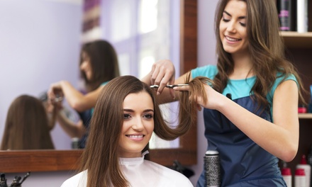Haircut Package with Color Treatment or Styling at J. Bruno's Salon & Barbershop (Up to 52% Off)