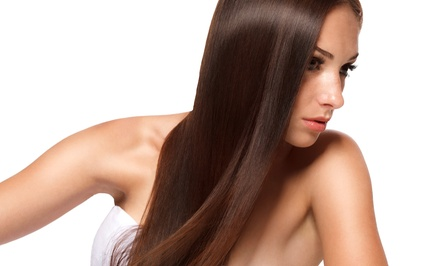 Keratin Treatment or Root Touch-Up and Blow-Dry at Hue by Monique Cherise Salon (Up to 79% Off)