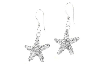 Swarovski Elements Starfish Drop Earrings in Sterling Silver