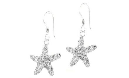 Swarovski Elements Starfish Drop Earrings in Sterling Silver